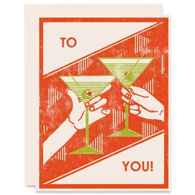 To You Martini Cheers Celebration Card