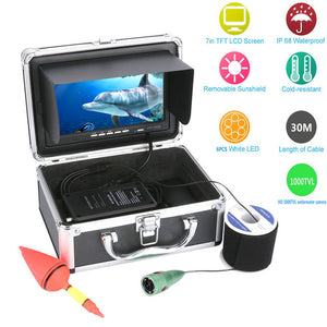 "GAMWATER 7"" Inch HD 1000tvl Underwater Fishing Video Camera Kit 6pcs 1W White LEDs Lights Video Fish Finder 15M 20M 30M 50M"