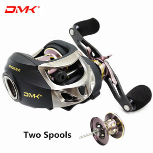 DMK Two Spool 7.0:1 Full Carbon Fiber Low Profile Baitcasting Reel Left Hand Carbon Handle Saltwater Bait Cast Reel Fishing Reel