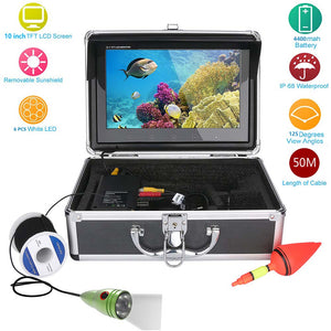 "GAMWATER 10"" Inch HD 1000tvl Underwater Fishing Video Camera Kit 6pcs 1W White LEDs Lights Video Fish Finder 20M 30M 50M"