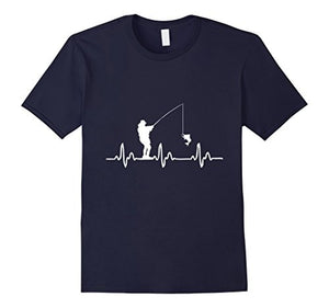 Fishinger Heartbeat T-Shirt - Funny Fishinger Apparel Cool Slim Fit Letter Printed Top Tee Summer Short Sleeves Cotton T Shirt