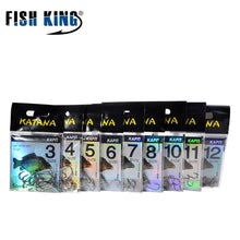 FISH KING 10pcs/pack 3#-12# KATANA High Carbon Steel Carp Anzol Fishing Hooks Jig Barbed With Hole For Fishing Accessories Pesca