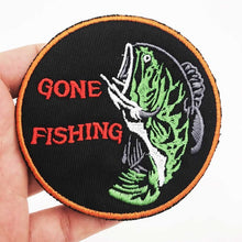 gone fishing live to fish biker Patches Clothes Stickers Apparel Accessories Badge