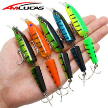 Amlucas 10.5cm 9g Wobblers Pike Fishing Lures Artificial Multi Jointed Sections Bait Crankbait Fake Fish Fishing Accessories WW6