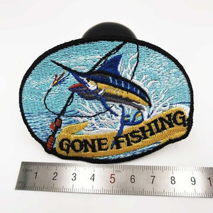 Marlin Gone Fishing Patch Embroidered Applique Sewing Label punk biker Patches Clothes Stickers Apparel Accessories Badge