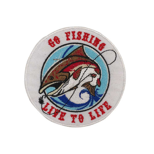 GO FISHING LIVE TO LIFE Embroidered Applique Sewing Label punk biker Patches Clothes Stickers Apparel Accessories Badge