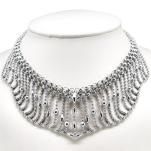 Platinum Unique Fancy Fringe Style Necklace