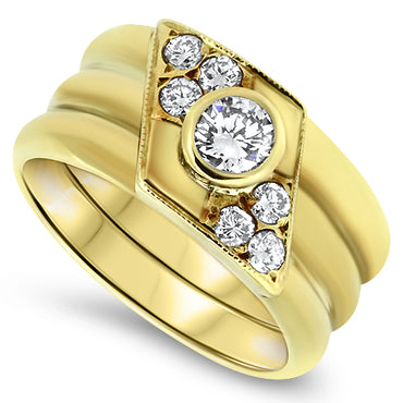 0.70ct Diamond Dress Handmade Ring in 18k Yellow Gold