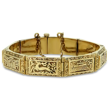 18k Yellow Gold Solid Patterned Bracelet with a Safety Chain