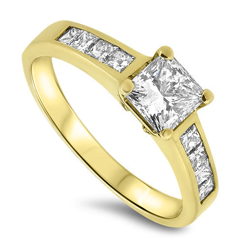 1.20ct Princess Cut Diamond Engagement Ring H VS2 in 18k Yellow Gold