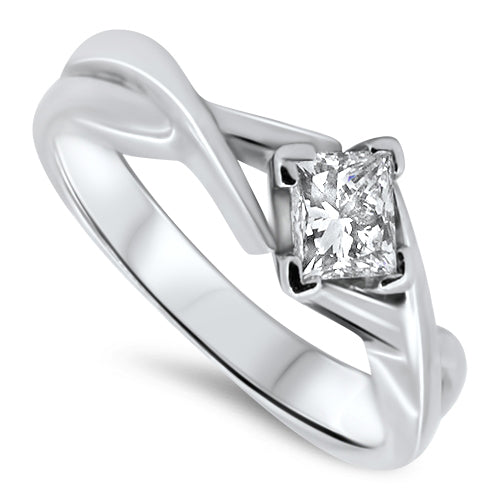 0.50ct Princess Cut Diamond Engagement Ring Set in 18k White Gold with a H SI1 Diamond