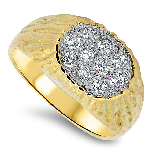 0.55ct Diamond Mens Cluster Ring in 18k Yellow Gold