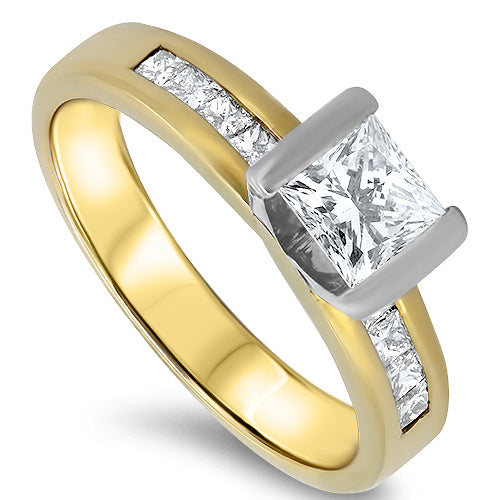 1 Carat Diamond Engagement Ring with Princess Cut Diamonds