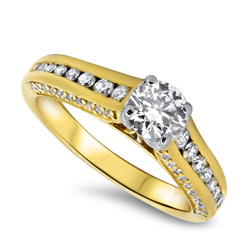 1.10ct Diamond Engagement Style Ring with a 0.50ct E/F Colour Diamond in 18k Yellow Gold