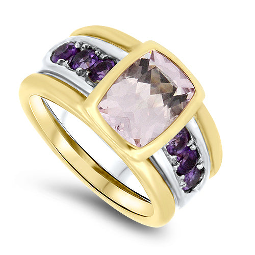 2.00ct Natural Morganite and Amethyst Handmade Ring in 18k Rose & White Gold