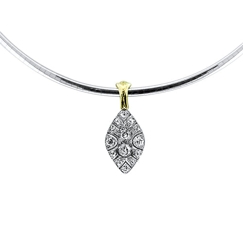 1.98ct Antique Old Mine Cut Diamond Handmade Necklet in 18k White Gold