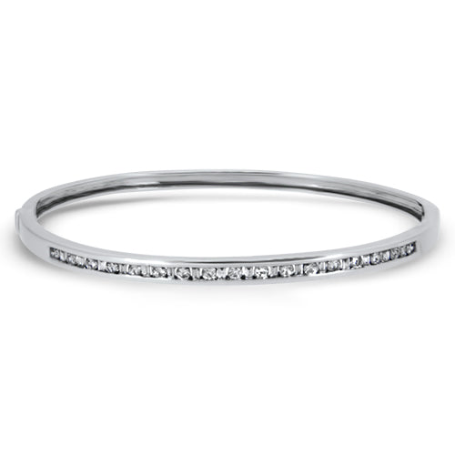 0.95ct Diamond Bangle in 9k White Gold