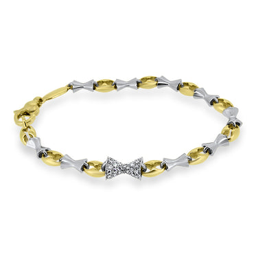 0.75ct Diamond Bow Bracelet in 18k Yellow and White Gold