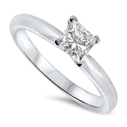 0.50ct Diamond Engagement Ring set in 18k White Gold with a G/H SI2 Princess Cut Diamond