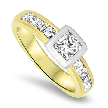 1.00ct Princess Cut Diamond Engagement Ring in 18k Gold
