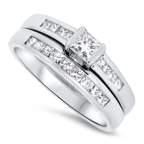 1.05cts Diamond Princess Cut Ring set in 18k White Gold with H VS Diamonds