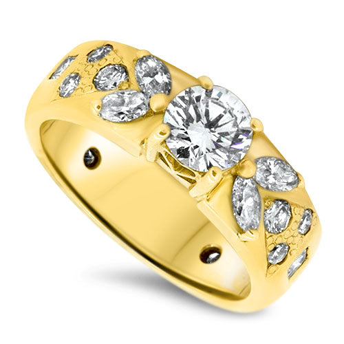 1.18ct Diamond Handmade Ring in 18k Gold with a 0.60ct Centre Diamond