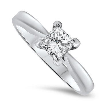 0.71ct Diamond Solitaire Ring in 18k White Gold