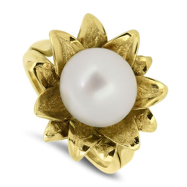 18ct Yellow Gold Handmaded Cultured Pearl Ring