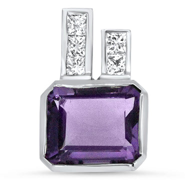 5.50ct Amethyst and Diamond Handmade Pendant in 18k White Gold