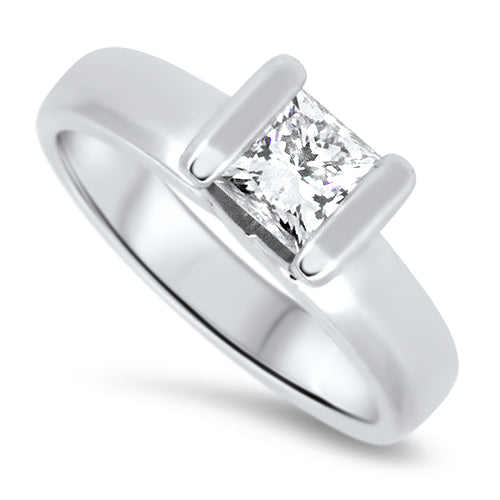 0.70ct Princess Cut Diamond Engagement Ring in 18k White Gold