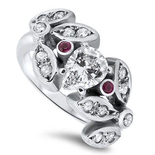 1.42ct Diamond Cluster Ring with Pink Sapphires Center Diamond 1.02ct
