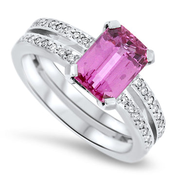 2.73ct Natural Pink Sapphire and Diamond Handmade Dress Ring set in Platinum