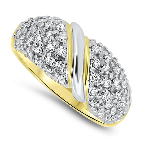 1.00ct Diamond Cluster Ring in 18k Yellow Gold