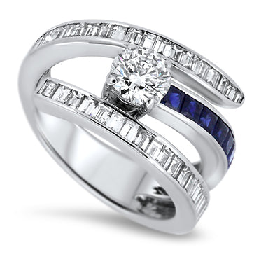 2.93ct Diamond and Sapphire Dress Ring in 18k White Gold and GIA Certified