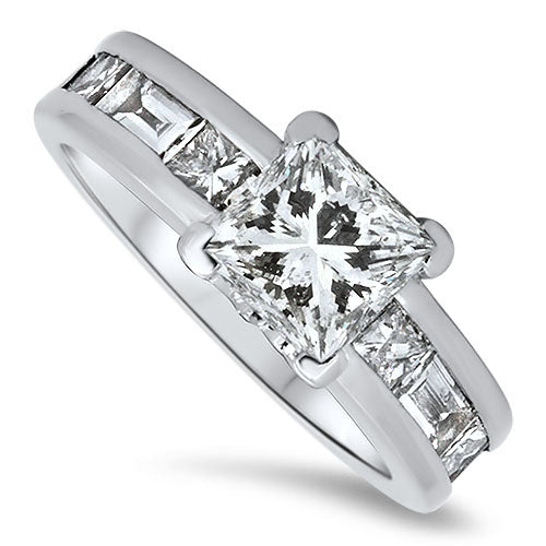 2.82ct Diamond Engagement Ring with Princess Cut Diamonds and a 1.50ct Center Diamond
