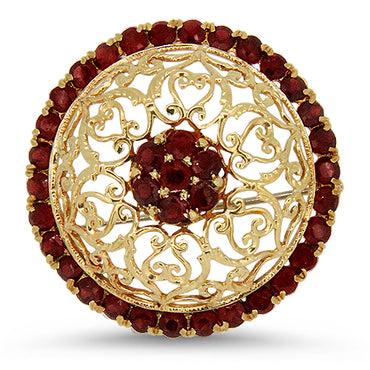 18k Yellow Gold Filigree Style Garnet Brooch