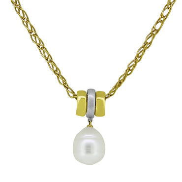 18ct Yellow & White Gold Pearl Pendant