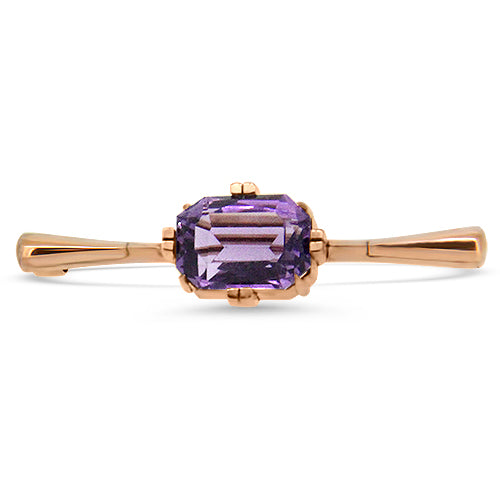 9k Rose Gold Amethyst Antique Brooch