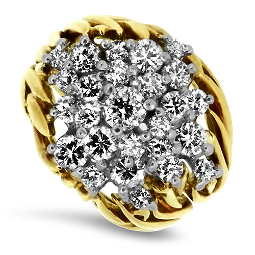 1.45ct Diamond Cluster Ring in 18k Yellow Gold
