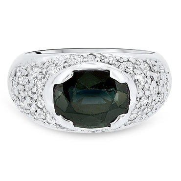 3.65ct Australian Sapphire & Diamond Ring in 18k White Gold