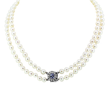1.54ct Sapphire, Diamond and Akoya Pearl Double Strand Necklace with a 14k White Gold Clasp