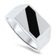18ct White Gold Mens Onyx Ring