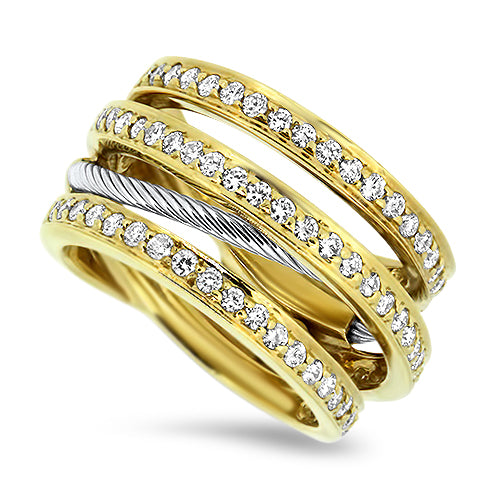 1.00ct Diamond Split Band Cluster Ring in 18k Yellow Gold