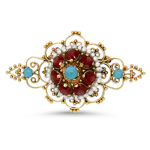 14k Yellow Gold Turquoise, Garnet and Seed Pearls Brooch