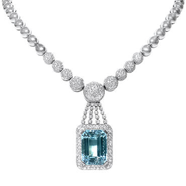 29.26ct Aquamarine and Diamond Necklace in 18k White Gold