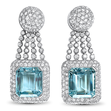 20.96ct Aquamarine and Diamond Drop Earrings in 18k White Gold