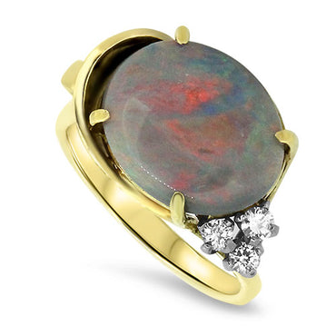 4.35ct Opal & Diamond Ring in 18k Yellow & White Gold