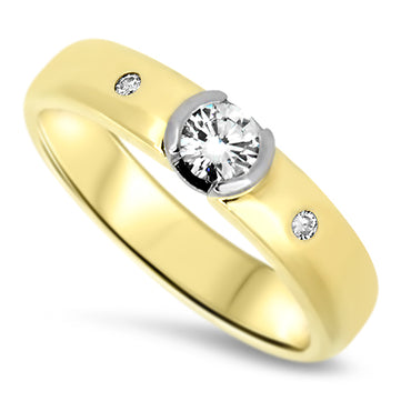 0.39ct Bezel Set Diamond Handmade Ring set in 18k Yellow Gold with a G VS2 Diamond