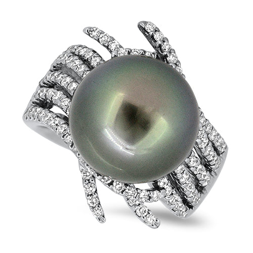 1.10ct Tahitian South Sea Pearl & Diamond Cluster Ring in 18k White Gold