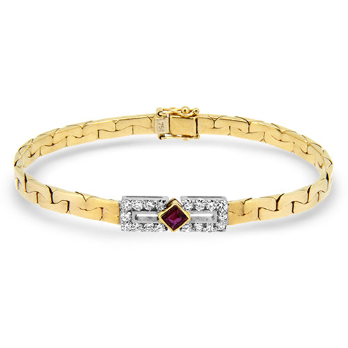 1.11cts Natural Ruby and Diamond Handmade Bracelet in 18k Yellow Gold